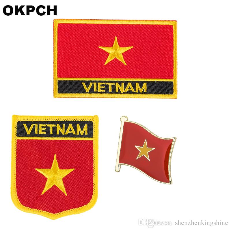 Vietnam flag patch badge 3pcs a Set Patches for Clothing DIY Decoration PT0212-3
