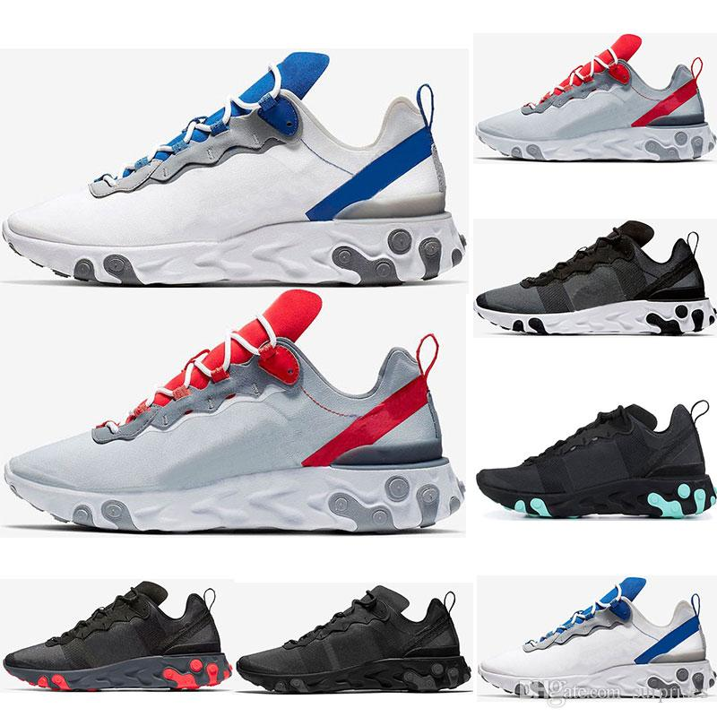 68329a2e39 2019 react element 55 running shoes for men womens Jade Solar Red triple  black white Royal Red sports sneakers shoes size 36-45