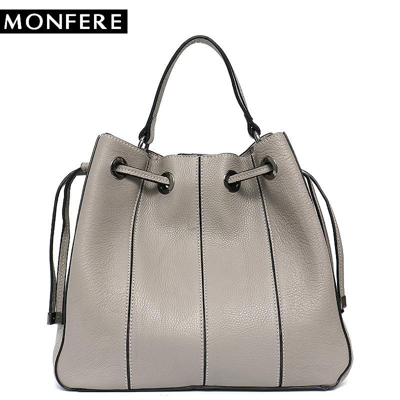 17693e4406 MONFERE Brand Genuine Leather Shoulder Bag Detachable Liner Patchwork  Bucket Luxury Handbag String Women Bags Striped Cross Body Hobo Handbags  Italian ...