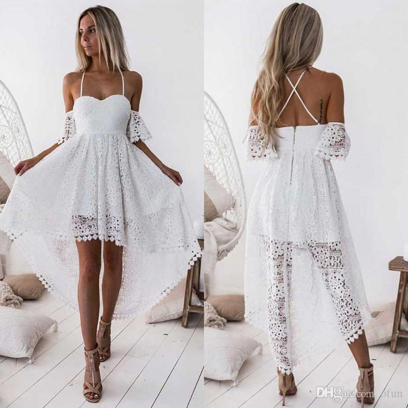 2019 Spaghetti Strap High Low White Homecoming Dress Full Lace Sweetheart Zipper Back Short Prom Dresses A Line Abendkleider