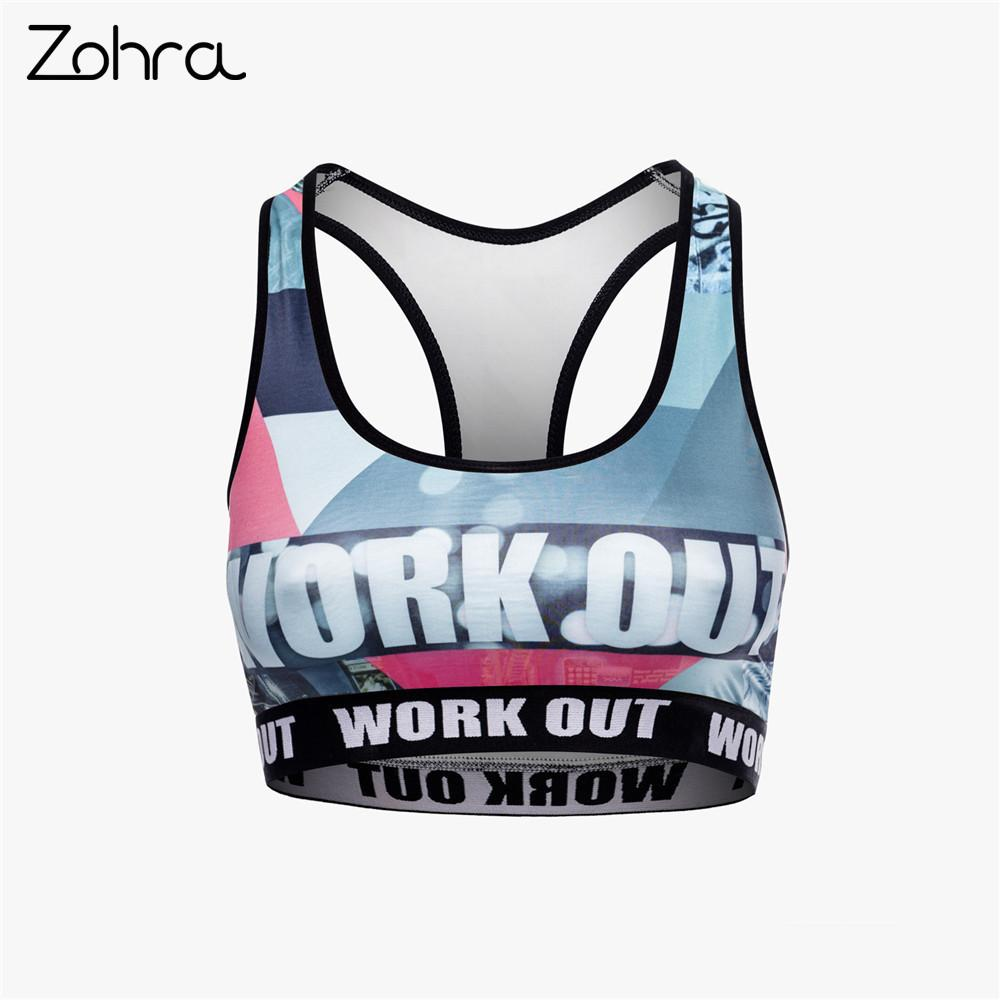 Zohra Unique Design Women Fitness Bra Retro Graffiti Printing Tops Woman Fashion Breathable Short Clothes Y19042801