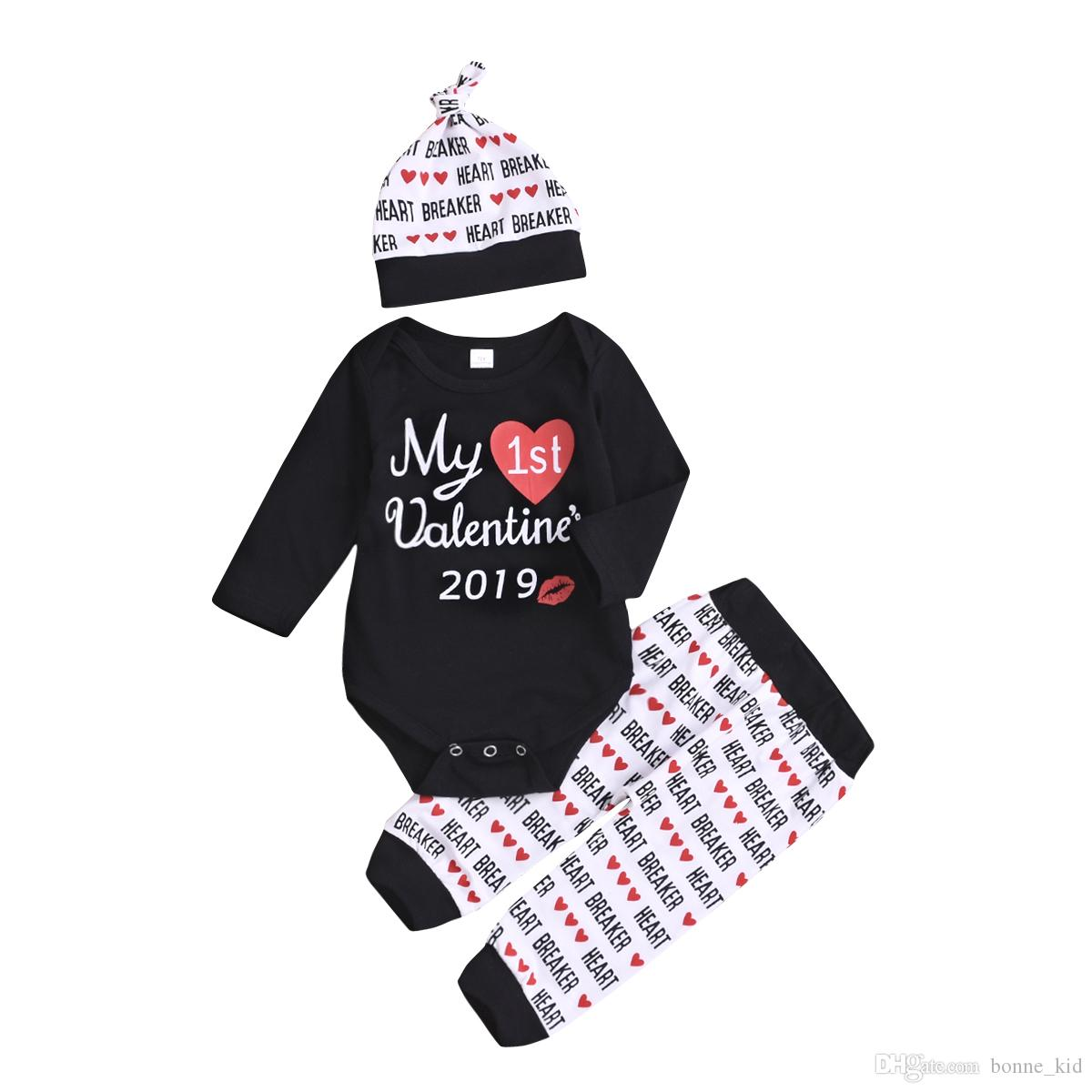 69da0990c58d 2019 2019 My First Valentine Baby Girls Clothing Outfits Romper ...