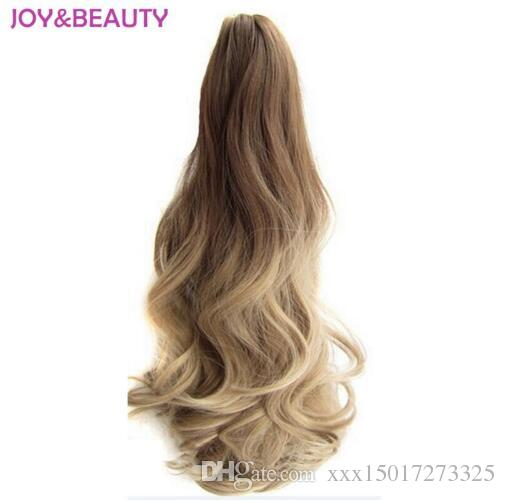 "Hair Long Wavy Ombre 20"" Clip On Hair Extensions Claw Pony Tail Synthetic Hairpiece Heat Resistant Ponytail"