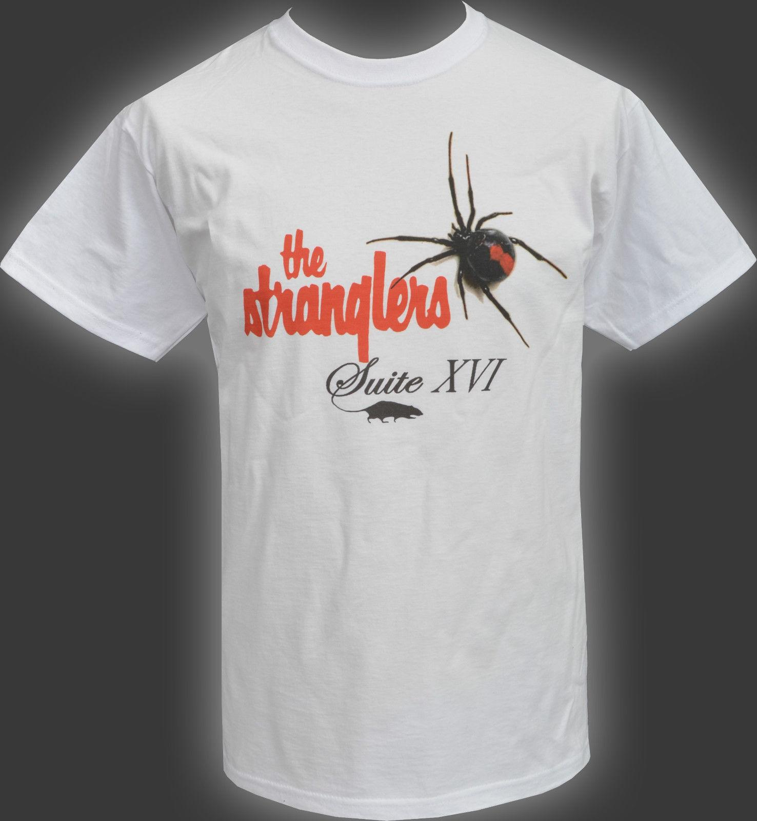 Mens White T Shirt The Stranglers Suite Xvi Black Widow Spider Rat Punk Rock Funny Free Shipping Unisex Casual Tshirt Top