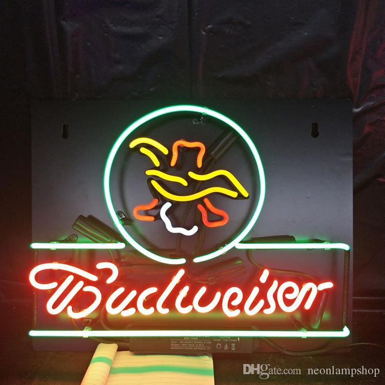 Acrylic Back Budweiser Neon Beer Sign Design Real Glass Tube Advertising  Bar Home Decoration Art Display Neon Lamp Light 17 24 30 40