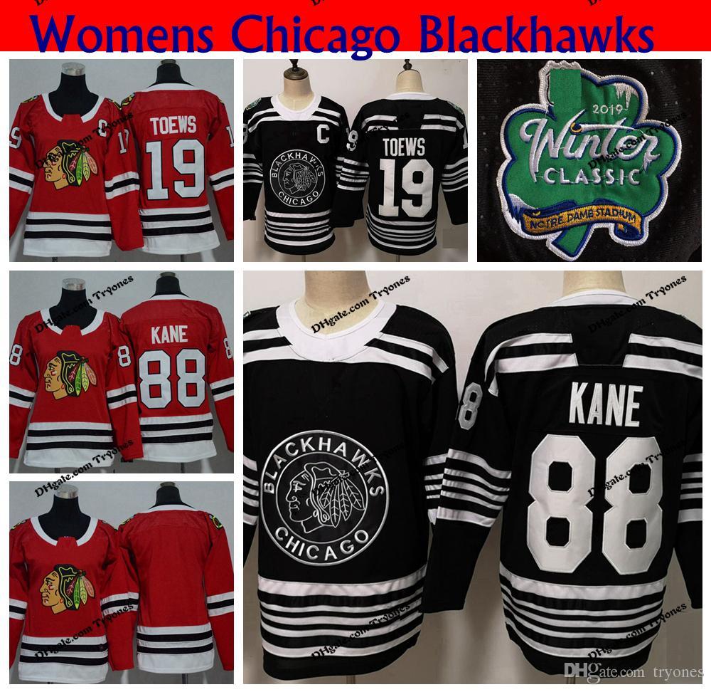 2019 Womens Chicago Blackhawks 2019 Winter Classic Black 88 Patrick Kane 19  Jonathan Toews Hockey Jerseys Ladies Home Red Stitched Shirts From Tryones 3b3f3202b
