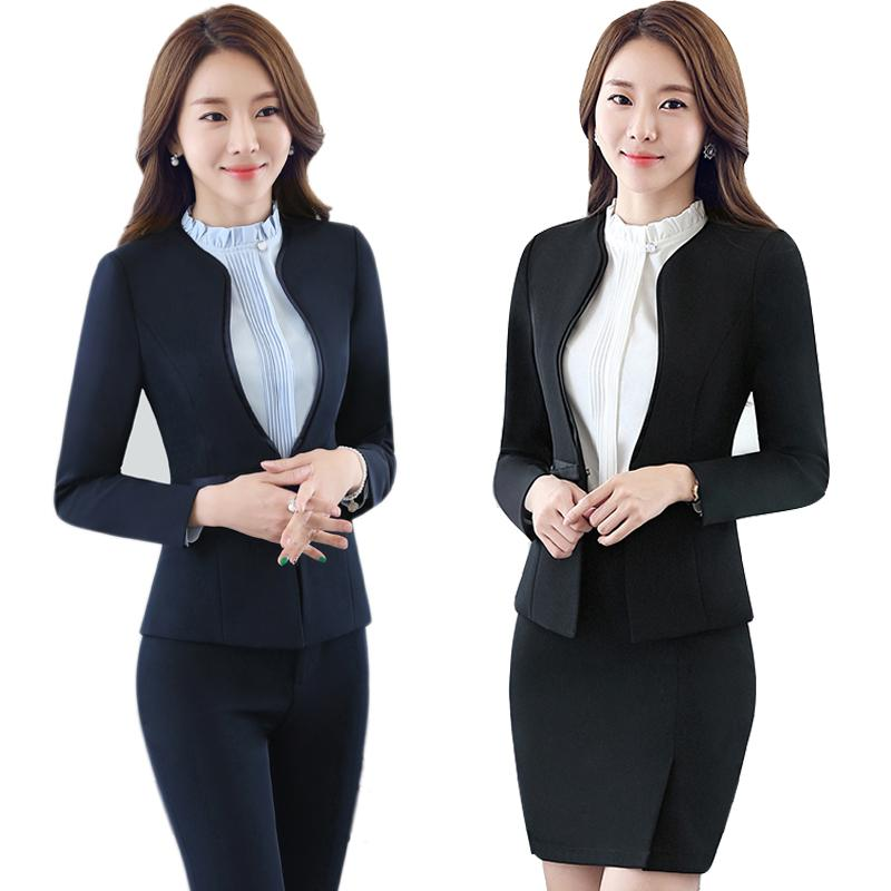 a0a42db8792cf 2019 Women Blue Blazer Set Two Pieces Suits Spring Autumn Ladies Formal  Skirt Suit Office Uniform Style Female Business Suit For Work From  Panacloth