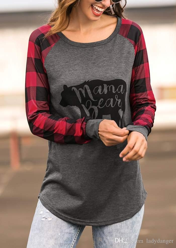 3a5923ff9fbabf Women Autumn Full Sleeve Tops Tee Mama Bear Plaid O-Neck T-Shirt ...