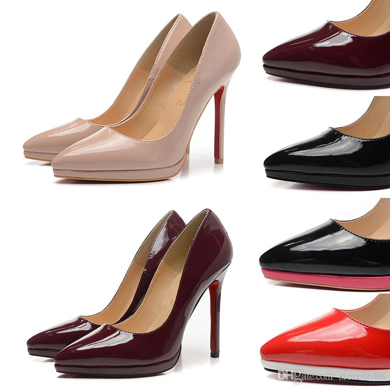new styles 37f9b 1ad9e 2019 Red Bottom High Heels Women CL Shoes 12cm High Heel Ladies Female  Shoes Low Footwear Pumps Wedding Shoes Fashion Hot Salling