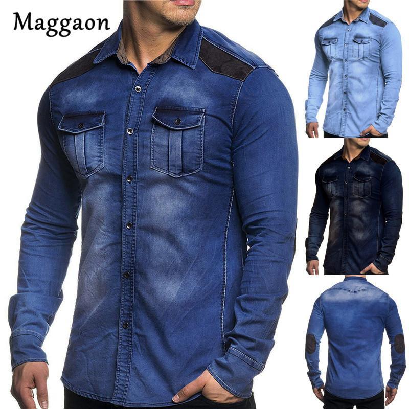 51b94577b9f4 2019 Otoño Nuevos Hombres Camisa de Mezclilla Casual Fit Slim Camisa de  manga larga Vestido de Jeans Lavados de Algodón Para Hombre Ropa Tamaño Plue