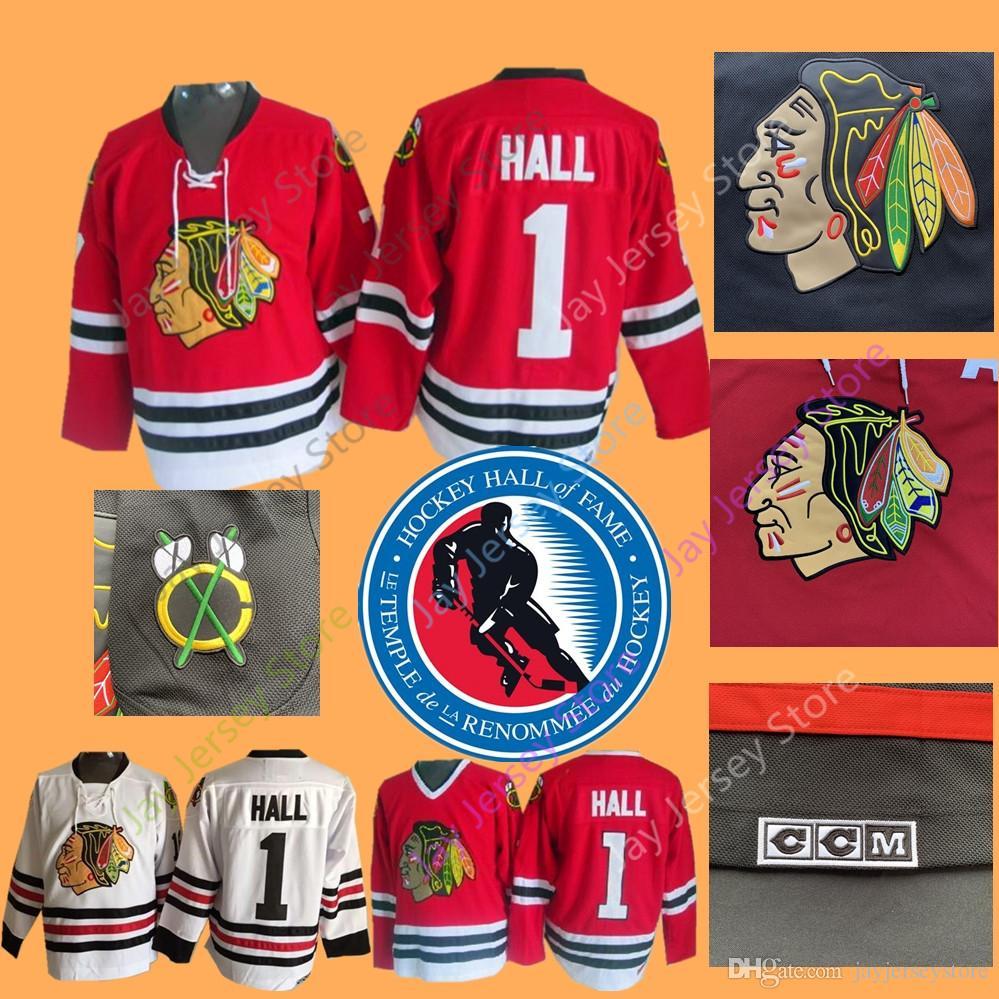 67321326c 2019 Glenn Hall Jersey 1975 Of Fame Patch Ice Hockey Chicago Blackhawks  Jerseys CCM Vintage White