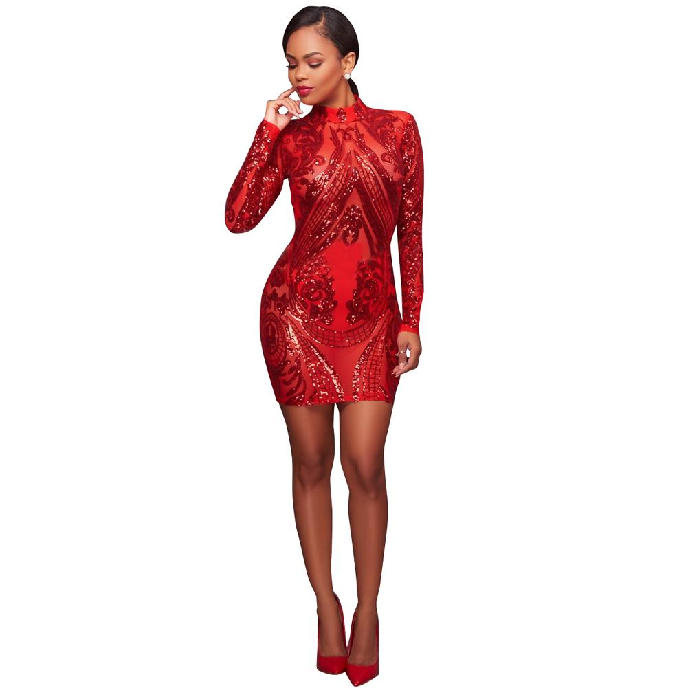 f51c120b7aea2 New Fashion Sexy Women Sparkling Sequin Dress Long Sleeves Bodycon  Nightwear Evening Party Mini Dresses