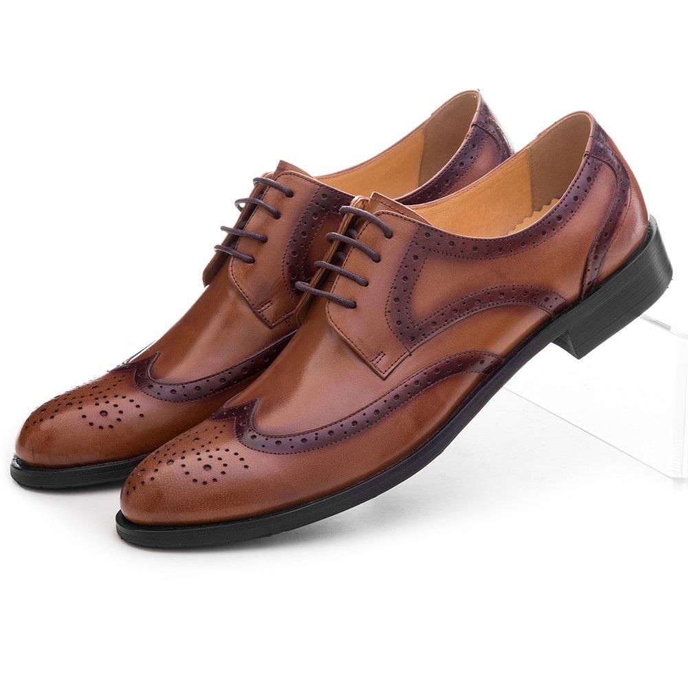 d48e7273a734f9 Acheter CLORISRUO Mode Noir / Marron Prom Oxfords Chaussures Habillées Pour  Hommes Véritables En Cuir Brogues Formelle Mariage Marié Chaussures Homme  ...
