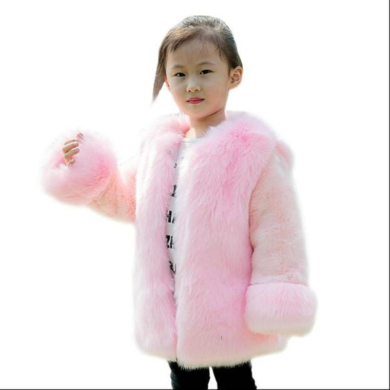 2019 Girls Winter Faux  Fur Coat Baby Warm Outerwear Kids Clothes Thick Cotton Single-breasted O-neck Soft Jacket N356