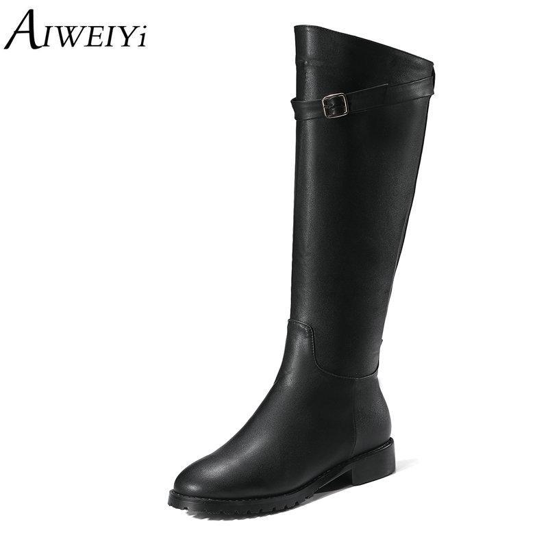 selezione migliore 47a5d 12612 AIWEIYi Stivali al ginocchio piatti per le donne Stivali Martin stile  occidentale neri Scarpe peluche basse invernali per donna