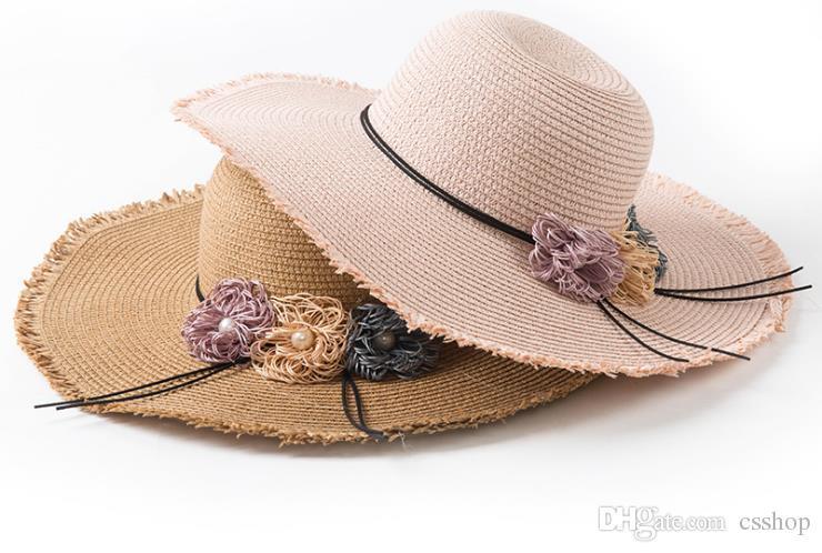 Compre Sombrero Mujer Verano Perla Flor Esquina Casquillo De Paja Plegable  Coreana Nueva Playa Protector Solar Sombrero Sombrero Sombrero A  68.35 Del  ... 6e7f3a51cff