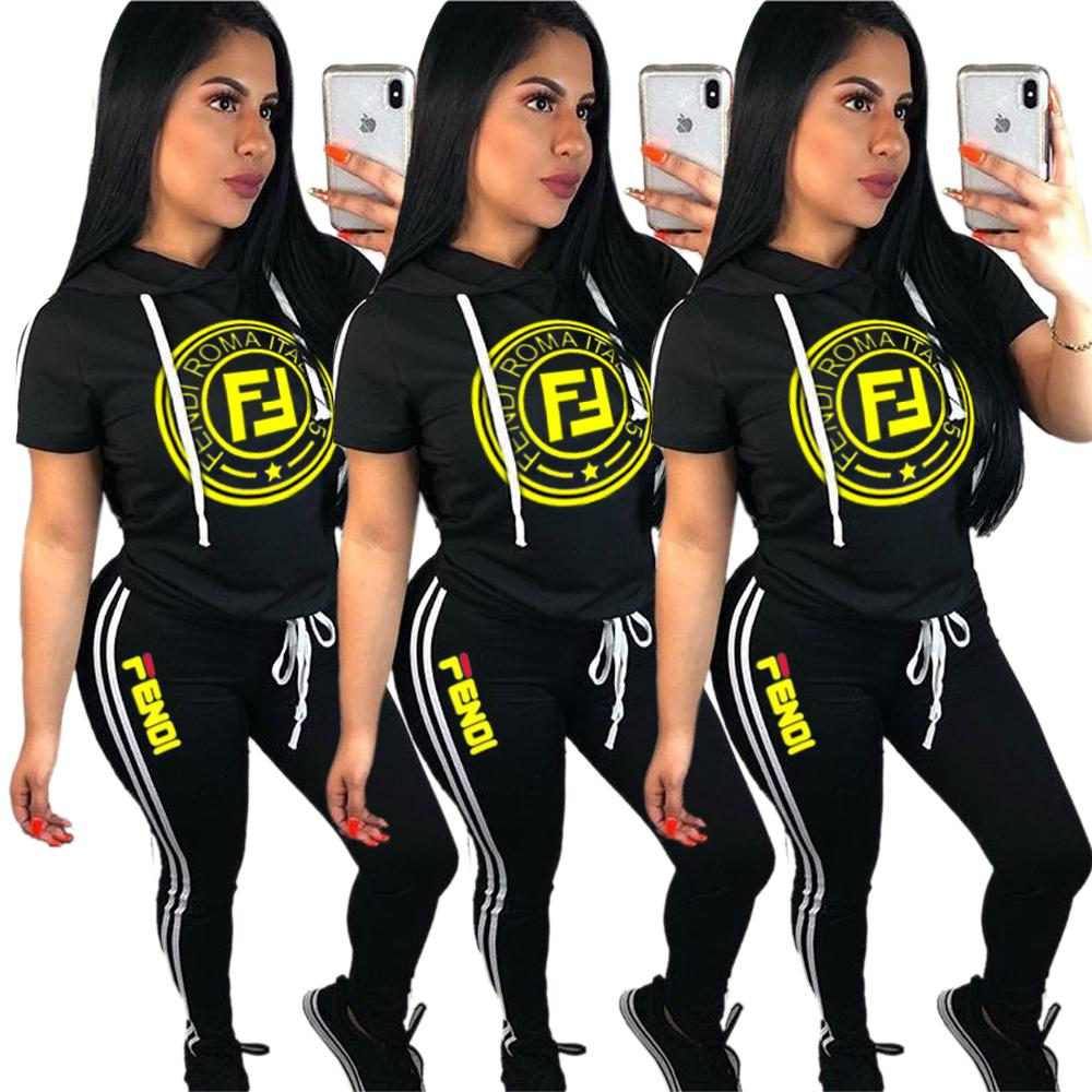 F Letter Printed Tracksuit Casual Womens Hoodies Sports Two Piece Set Short Sleeve Hooded Pullover T shirts Outfit Pants Leggings Sportswear