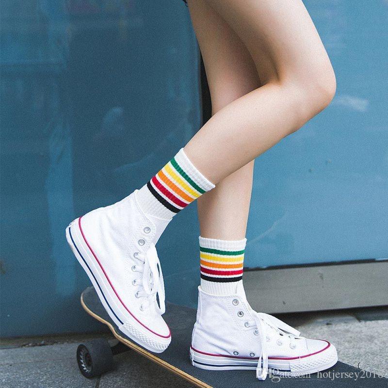 f4bb7213b 2019 Rainbow Stripes Creative Cotton Running Stocks Sport Football Soccer Long  Socks Knee High Sock For Women  103631 From Hotjersey2018