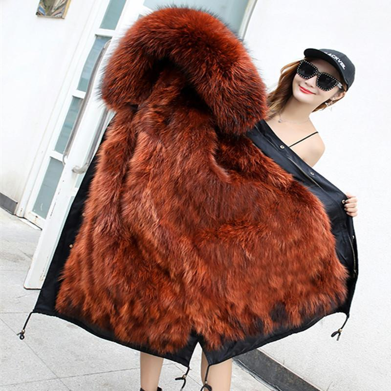 e45332ad5cd2 2019 X Long Winter Jackets Coats Female 2018 Plus Size Real Raccoon Fur  Parkas Mujer Coat Thick Women Real Fur Inner Parka D19011505 From Tai01, ...