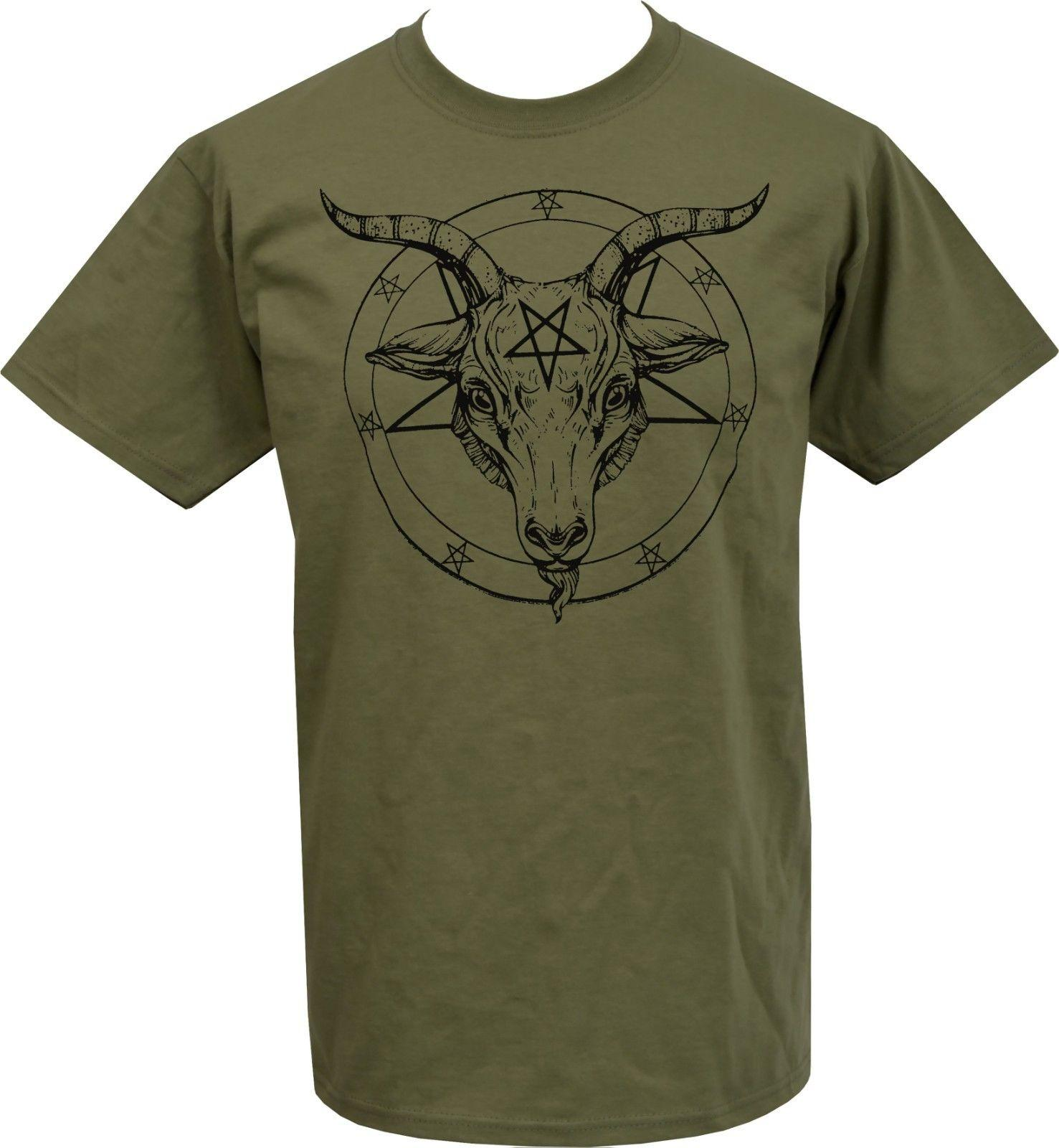 MENS KHAKI OLIVE GREEN T SHIRT BAPHOMET PENTAGRAM SATANTIC OCCULT CHURCH  SATAN Funny Online Tee Shirts Shopping Funniest Tee Shirts From  Thetoynation d4694da882c