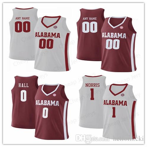 buy popular 97613 388af Customize 1 Riley Norris Alabama Crimson Tide 0 Donta Hall Stitched  customize Mens youth Womens red white College Basketball Jersey