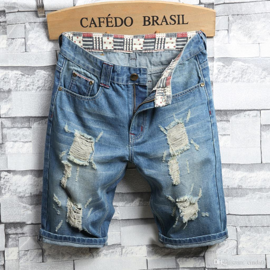 Mens Summer Denim Shorts Patch Elastic Mens Jeans Fashion High Street Casual Knee Length Jeans Free Shipping