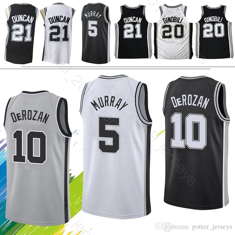 promo code 54630 1c2b1 Spurs jerseys DeMar 10 DeRozan jersey Dejounte 5 Murray Tim 21 Duncan Manu  20 Ginobili Maillots de basketball