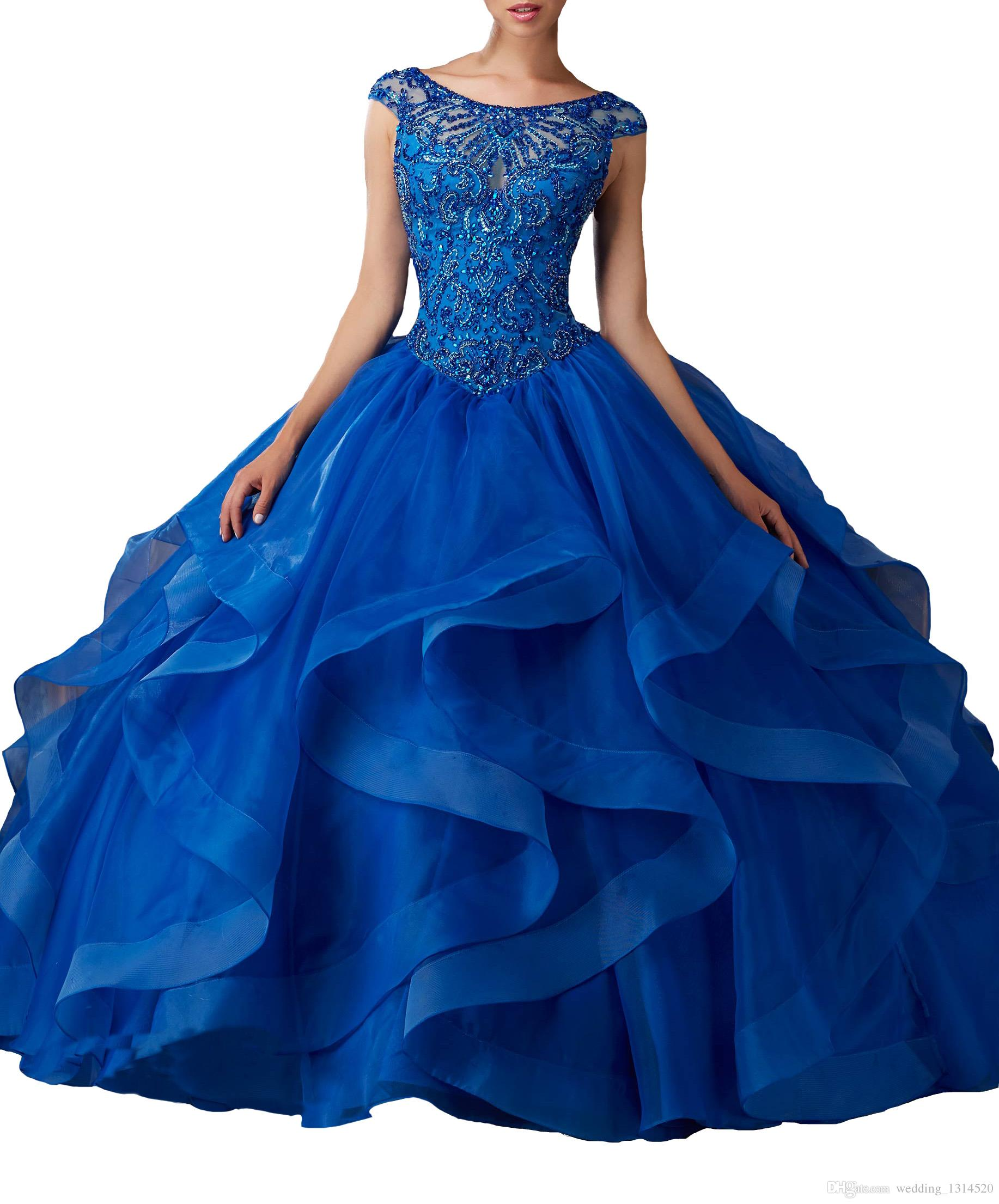 Women Long Quinceanera Dresses Ruffles Boat Neck Crystal Ball Gowns For 15 16 Girls Pageant Dance Party Custom Made Christmas Gifts