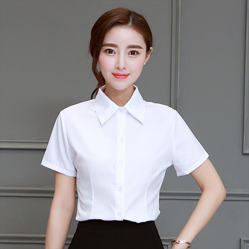 06177beb9270 Camisa de gasa 2019 Tops y blusas para mujer de manga corta Elegante de la  solapa Oficina Señora Blusa Temperamento Color sólido Camisa de verano