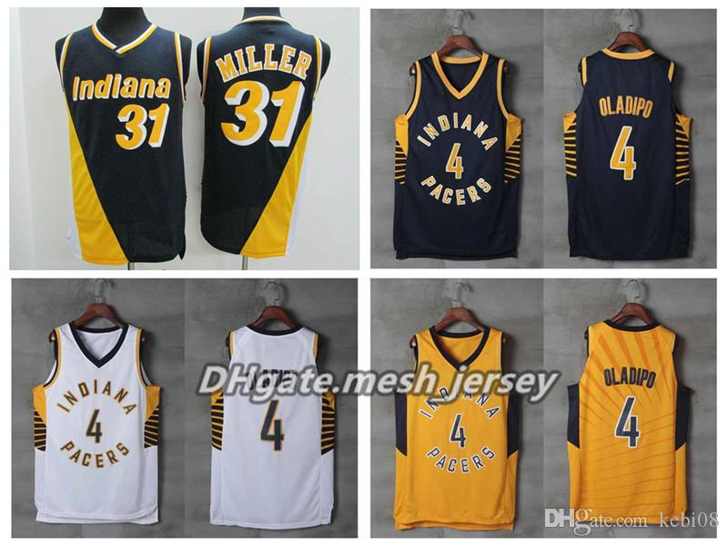 78d1d6a4b25 2018 New Indiana Basketball Pacers Jerseys 4 Victor Oladipo 31 Miller Retro  Stitching Jerseys Size S XXL UK 2019 From Ink02