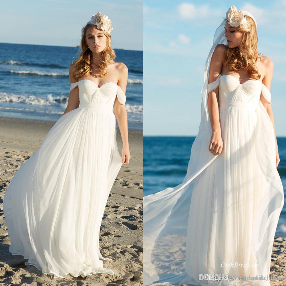 Beach Wedding Dresses Boho Plus Size Simple Style Off The Shoulder Chiffon  Floor Length Pleats Bridal Dresses For Wedding