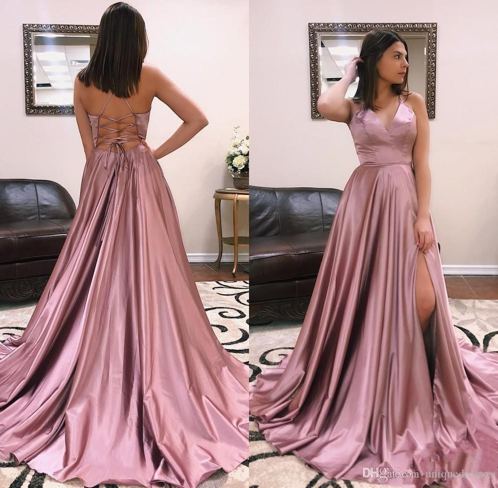 Discount Couture Dresses: Cheap Dresses Evening Wear 2019 Sexy V Neck A Line Long