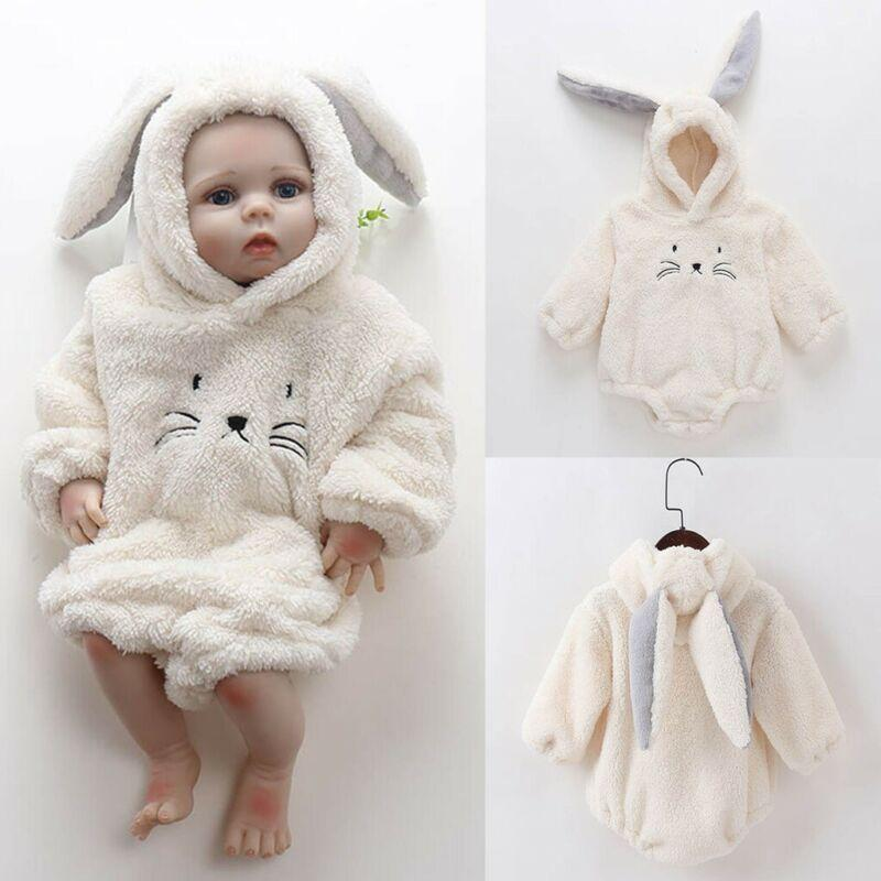 0-24 Months Newborn Infant Baby Girl Clothes Baby Boy White Fuzzy Cat Hooded Bodysuit Flush Jumpsuit Outerwear Outfits Clothing