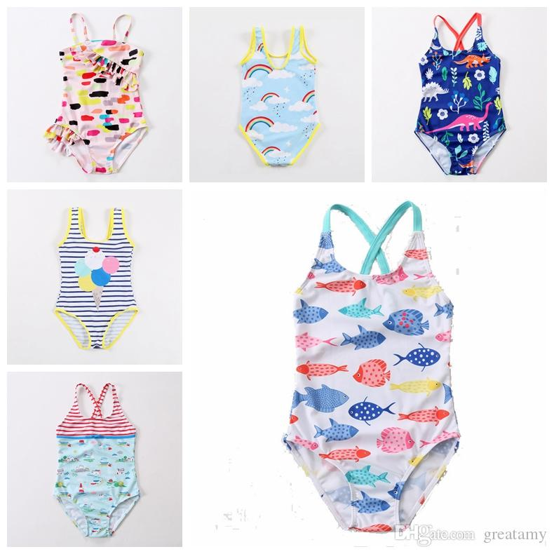 4a2097813cf43 2019 2019 New Design Baby Girls Swimwear Swan Fish Car Rainbow Dianasour  Balloon Printed Cute Babies Beah Wear Kids Children Bathing Suit From  Greatamy