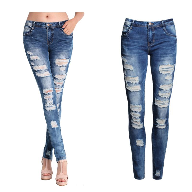 2017 New Women Jeans Female Blue Slim Ripped Jeans For Women Skinny Distressed Washed Stretch Denim Pants Femme Plus Size 2xl 50 J190505