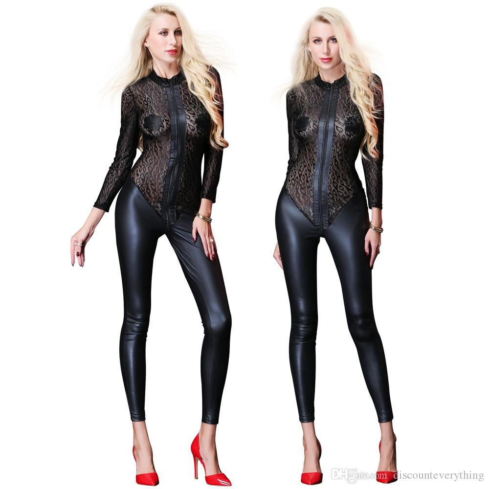 6ae951199 2019 Sexy Women Faux Leather Jumpsuit Sexy Body Suits PU Catsuit Teddy  Leotard Costumes Lace Pole Dance Full Length Bodysuit From  Discounteverything