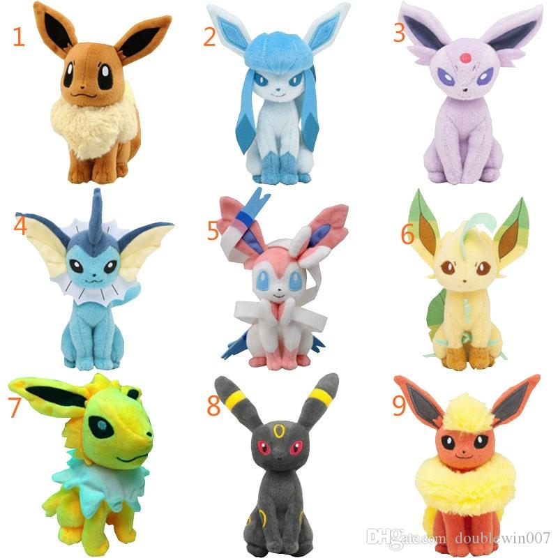 20pcs 22cm Center Plush toys Pikachu dolls Jolteon Umbreon Flareon Eevee Espeon Vaporeon Kids Children Toy gifts 9 styles in stock