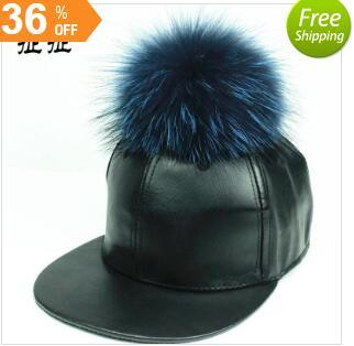 38321d44d26 Ashion PU Leather Baseball Cap Wool Real Mink Pom Poms Hip Hop Hat Caps  Bone Snapback Winter Hats For Women Wholesale Black Baseball Cap Army Cap  From ...