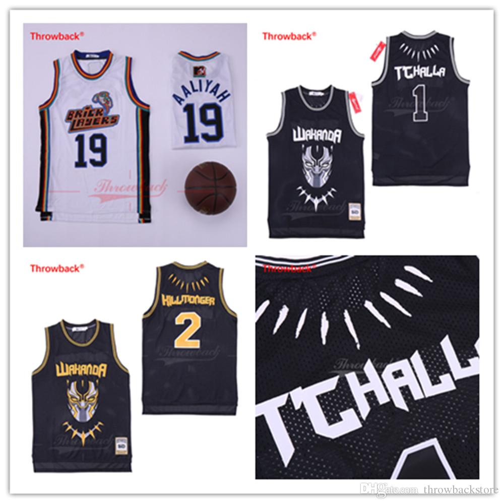 0883019a552 2019 Aaliyah #19 Bricklayers Basketball Jersey 1996 MTV Rock N Jock Black  Panther Wakanda T'Challa Killmonger Official Movie Basketbll Jerseys From  ...