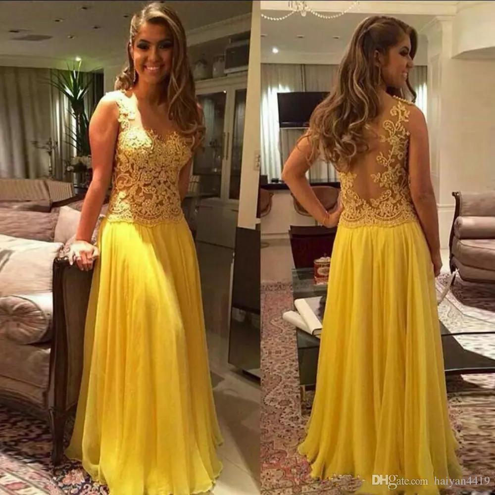 12c70a8ca1db0 2019 New Sexy Yellow Prom Dresses V Neck Lace Appliques Beaded Chiffon  Sheer Back Floor Length Plus Size Party Dress Formal Evening Gowns Boho Prom  Dresses ...