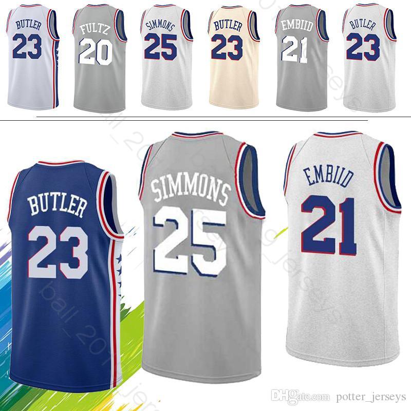 super popular a803a 6af65 2019 NEW Philadelphia Joel 21 Embiid Jerseys 76ers Ben 25 Simmons Markelle  20 Fultz 23 Butler Basketball Jerseys