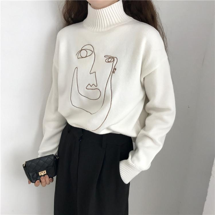 Geometric Face Winter Turtleneck Women Pullover Sweater Long Sleeve Loose Female Knitting Jumper Sweater Slim Ladies Sweater T190907 T190908