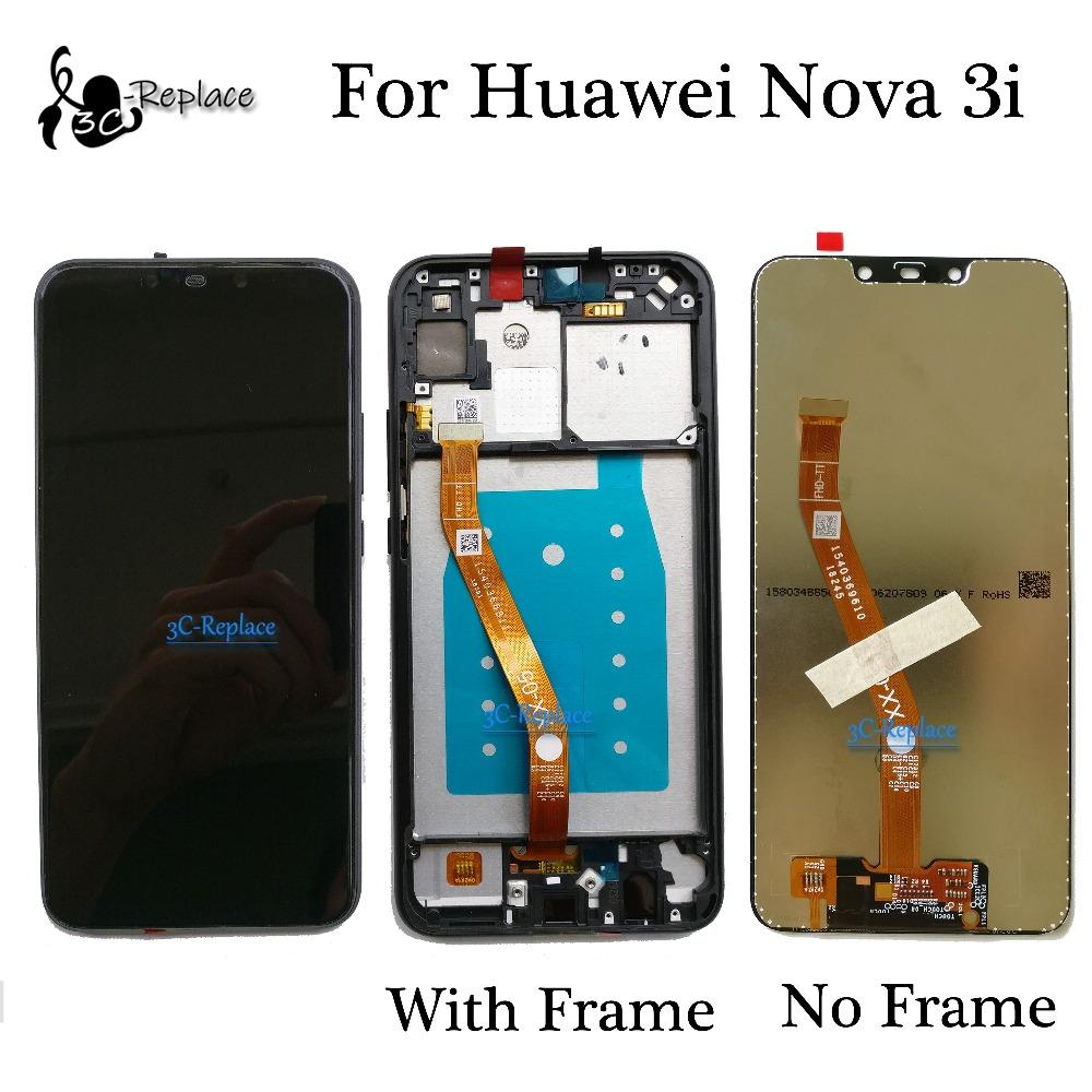 High Quality Black/Blue 6 3 inch For Huawei Nova 3i Nova3i INE-LX2 LCD  DIsplay + Touch Screen Digitizer Assembly With Frame