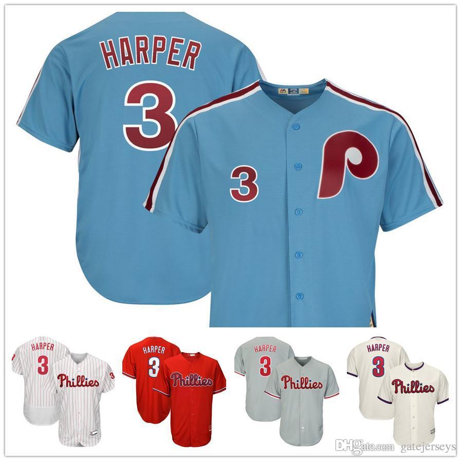 26a30df99 2019 2019 NEW 3 Bryce Harper Jersey Philadelphia Phillies Red Stripe Blue  White Mesh Retro Majestic Alternate Cool Base Harper Baseball Jerseys From  ...