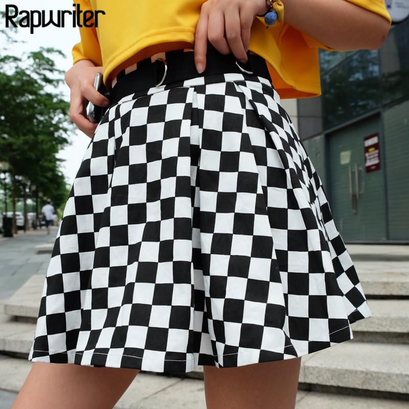 f81f3e395 2019 Rapwriter Fashion Black And White Plaid A Line Skirts Women 2018 New  Casual High Waist Streetwear Mini Skirt Sexy Saias Falda C19040401 From  Shen8407, ...