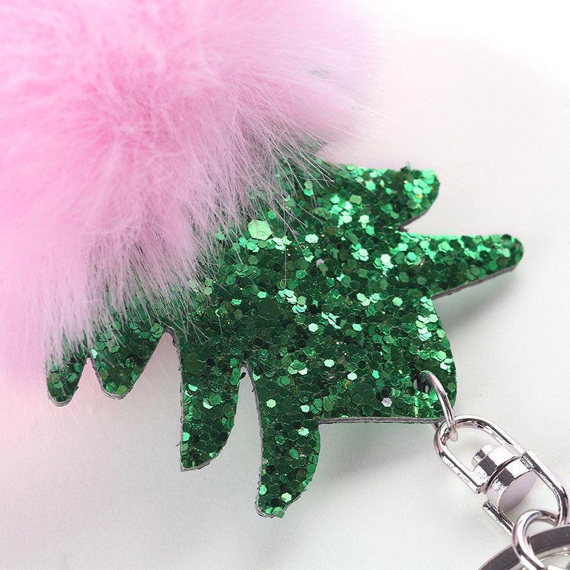 Adornos de Navidad colgante borla de las mujeres de piel Fuzzy bola linda Pompón Llavero lindo del encanto del bolso del anillo dominante