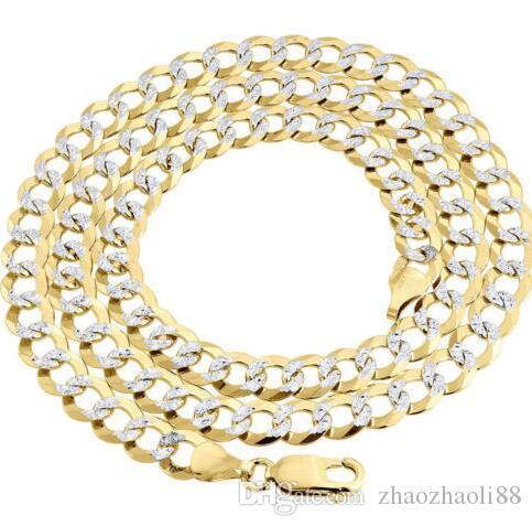 Real 10K Yellow Gold Solid Fill Diamond Cut Cuban Link Chain 7.25mm Necklace 24""