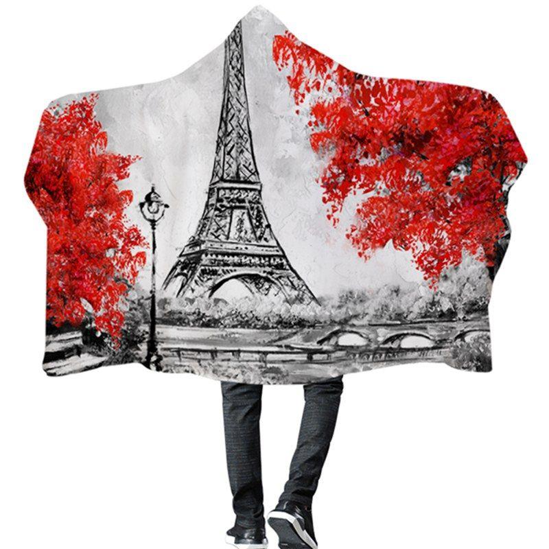 City Street Scenery Hooded Blanket Double Layer Warm Fleece Wearable ... a49bb5c21