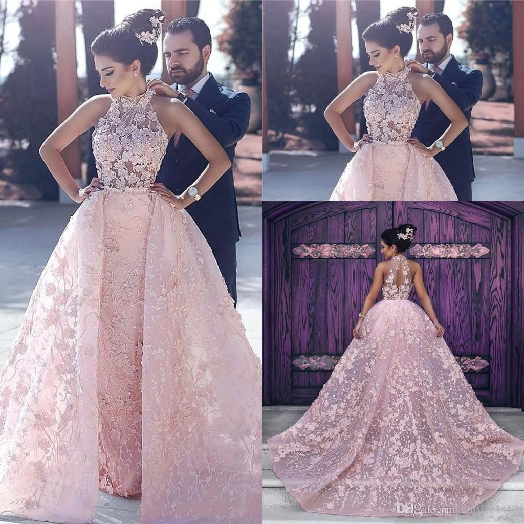 Evening Dresses Wear High Neck Dubai Sexy Pink 3D Floral Flowers Illusion Ball Gown Overskirts Plus Size Formal Party Dress Prom Gowns