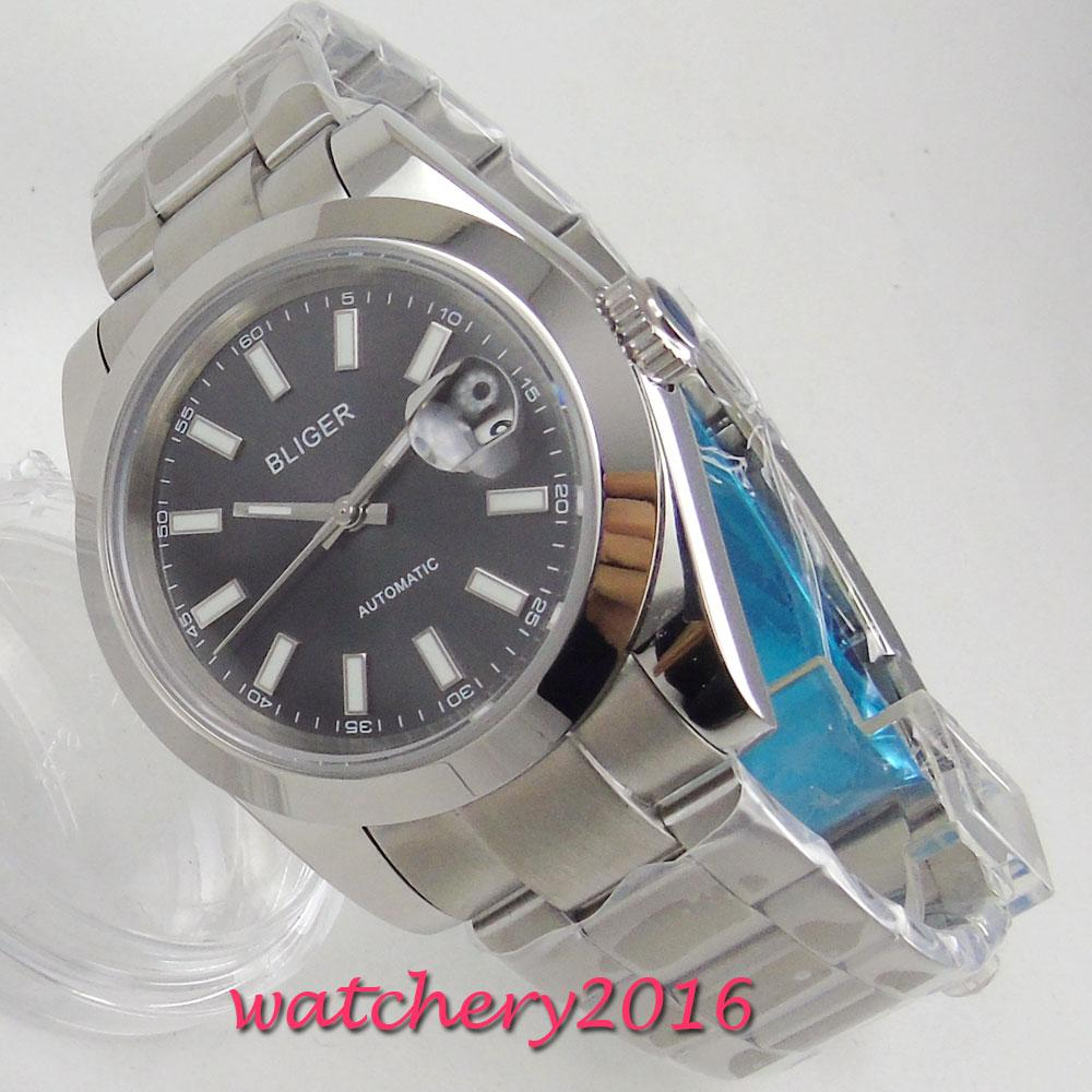 70d8dea5730 39mm Bliger Black Dial Sapphire Glass Date Window Top Brand ...